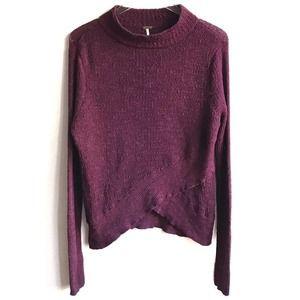 Free People Purple Mockneck Knit Crossover Sweater